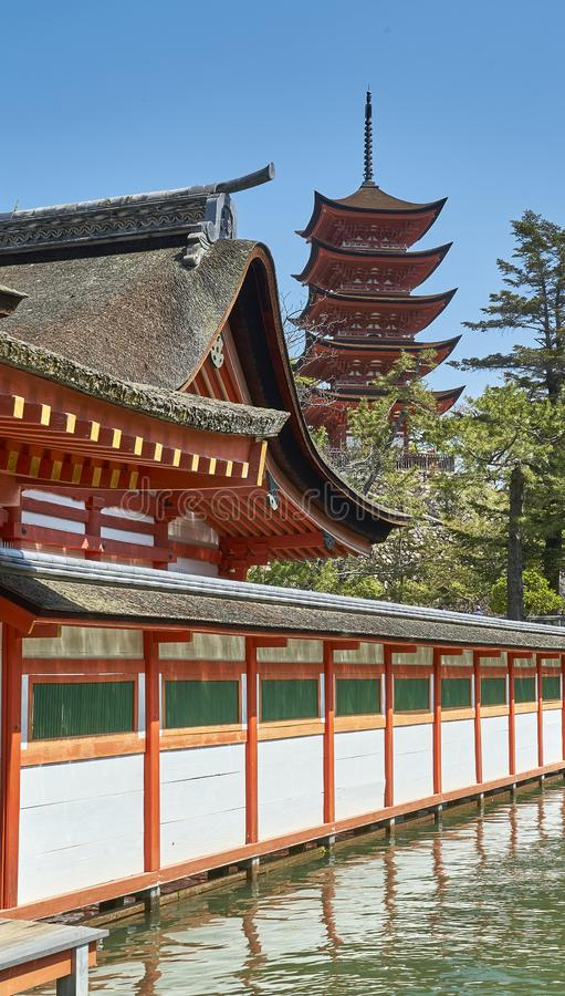 A shrine and a pagoda royalty free stock photo