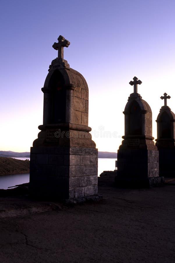 Shrines- Bolivia. Religious shrines atop Cerro Calvario near the colonial lakeside town of Copacabana- Lake Titicaca, Bolivia stock photos