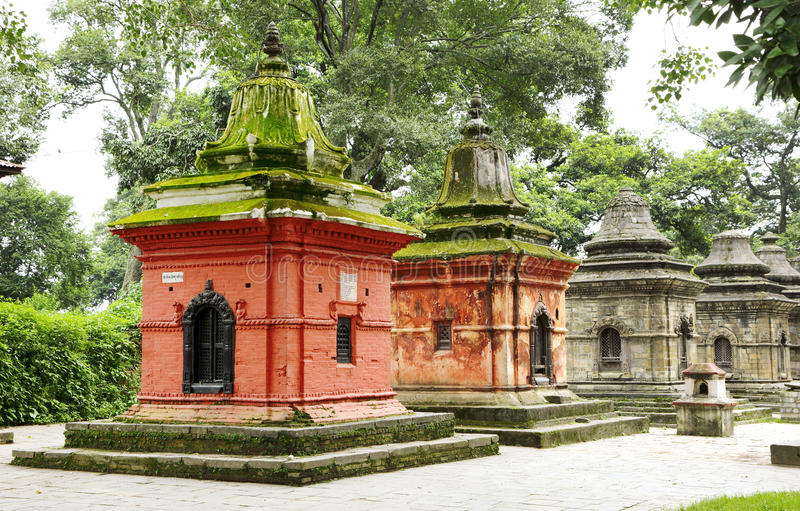 Shrines near main Pashupatinath temple, Nepal stock images