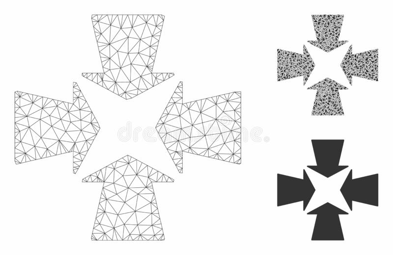 Shrink Arrows Vector Mesh Carcass Model and Triangle Mosaic Icon. Mesh shrink arrows model with triangle mosaic icon. Wire carcass polygonal mesh of shrink royalty free illustration