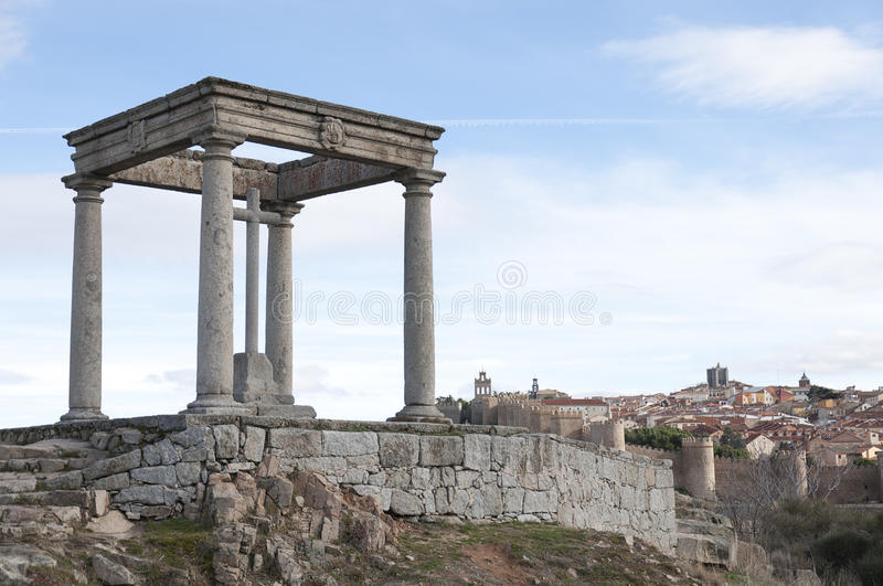 Shrine. The shrine of four post is a religious monument in the city of Avila. It consists of four Doric columns five feet above the capitals as many architraves stock images