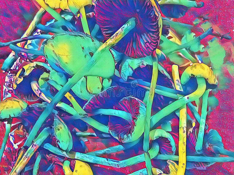 Shroom halucynacja Jadalne pieczarki z halucynogennym skutkiem Muchomor pieczarki stosu fantastyczny wizerunek royalty ilustracja