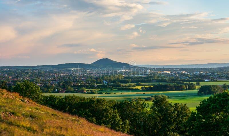 Shropshire kształtuje teren Wrekin od Lilleshall wzgórza zdjęcia royalty free