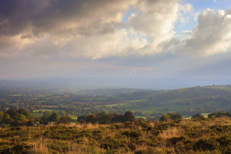 Shropshire landskap i höst från den Clee kullen royaltyfria bilder