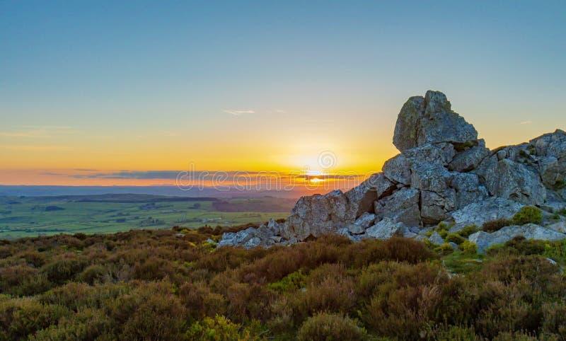 Shropshire landskap på solnedgången royaltyfria bilder