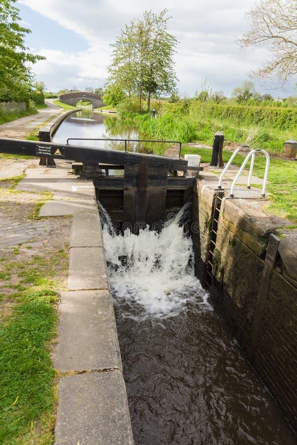Shropshire-Verbands-Kanal-Schleusentoren stockbild