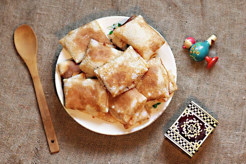 Shrovetide,俄国传统薄煎饼-俄式薄煎饼 免版税图库摄影