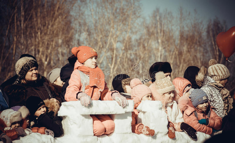 Shrovetide - the celebration and folk festival, Russia. Maslenitsa or Pancake Week is the ancient Slavic Holiday. Editorial stock photo