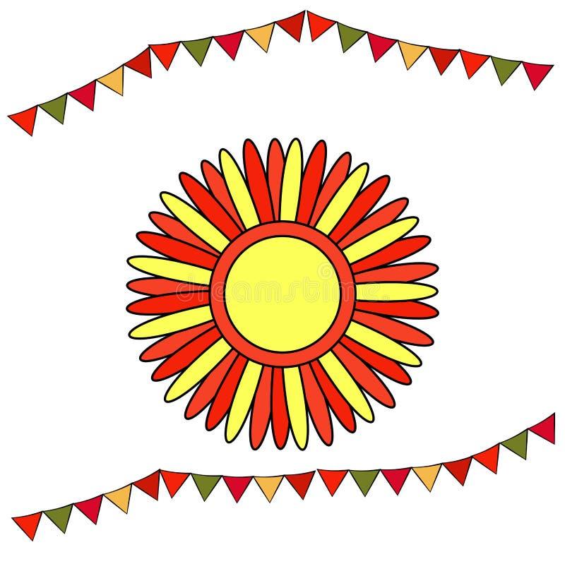 Shrovetide eller Maslenitsa Stiliserad sol med röda och gula strålar Rysk nationell ferie för beståndsdelar Bildande kort eller h royaltyfri illustrationer