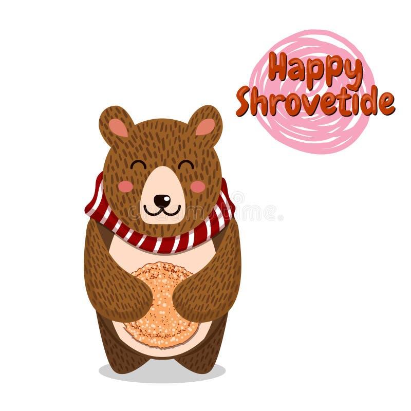 Shrovetide ou Maslenitsa Excellente carte cadeaux L'ours joue l'harmonica Inscription russe - Shrovetide Grand Russe illustration libre de droits