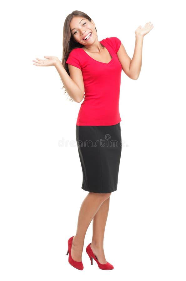 Shrugging feliz da mulher imagens de stock