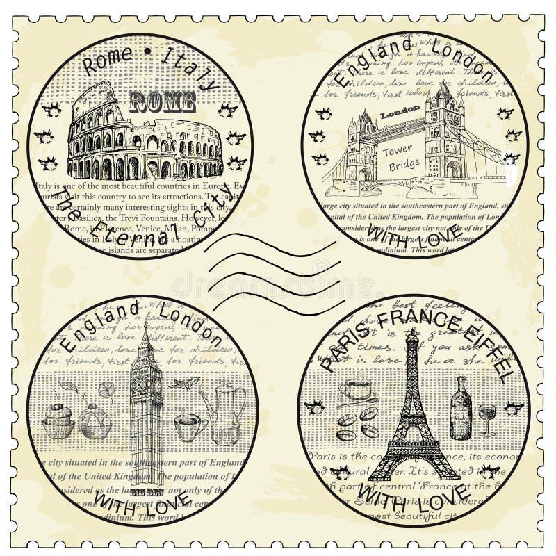 Shtamp罗马巴黎伦敦 皇族释放例证