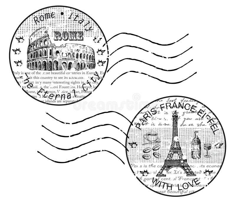 Shtamp Roma Paris ilustração do vetor