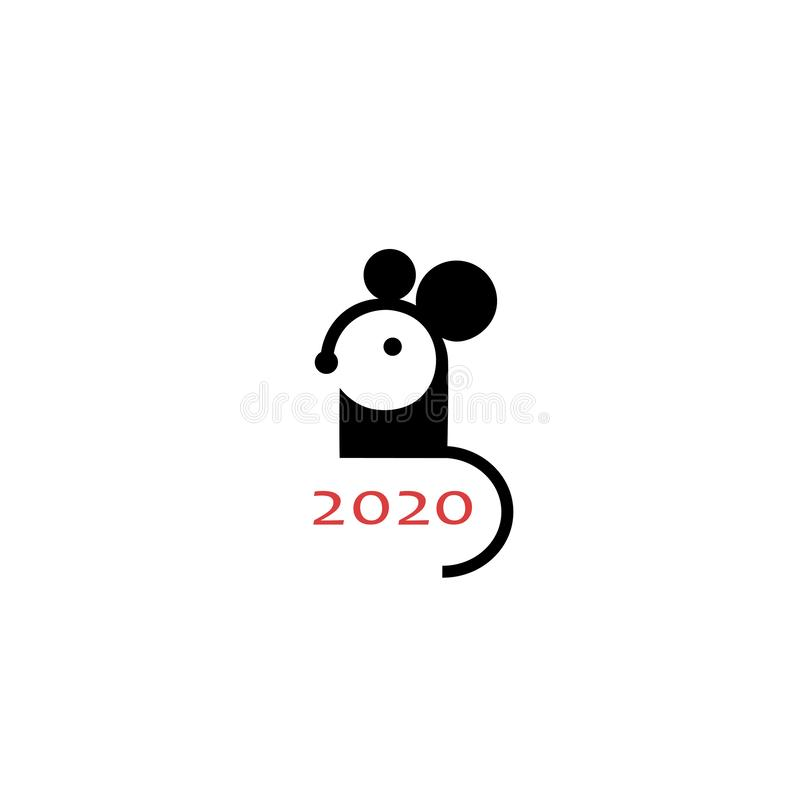 Simple logo Mouse symbol of 2020 year. Chinese animal zodiac new year greeting card. Cute mice icon design. royalty free illustration