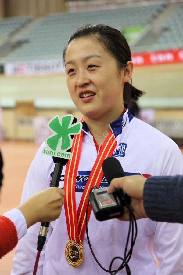 Shuangon Guo (CHN), gold medal in Women's Sprint stock image