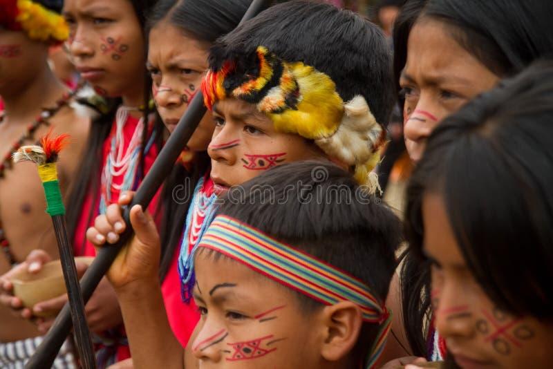 Shuar, γηγενής ομάδα από τον Ισημερινό στοκ φωτογραφία
