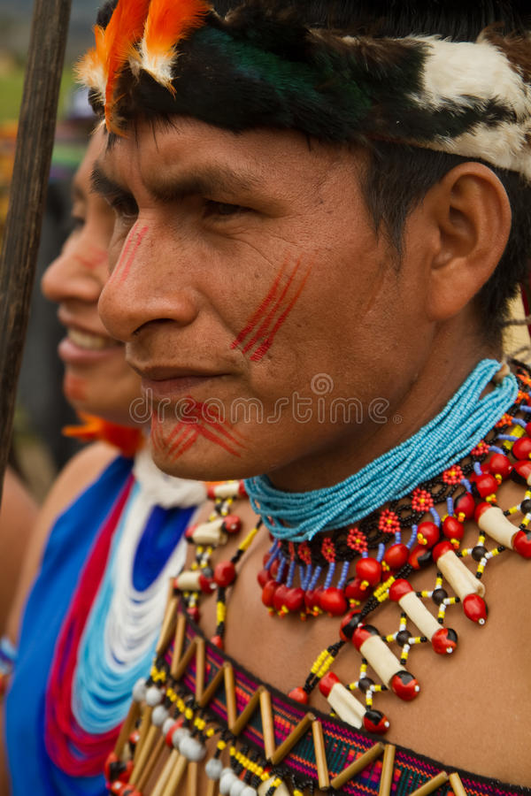 Shuar, groupe indigène d'Equateur image libre de droits
