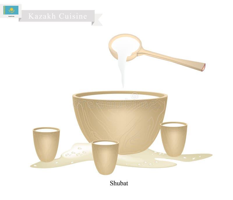 Shubat lub kazach Fermentujący wielbłąda mleko z Kwaśnym smakiem ilustracji