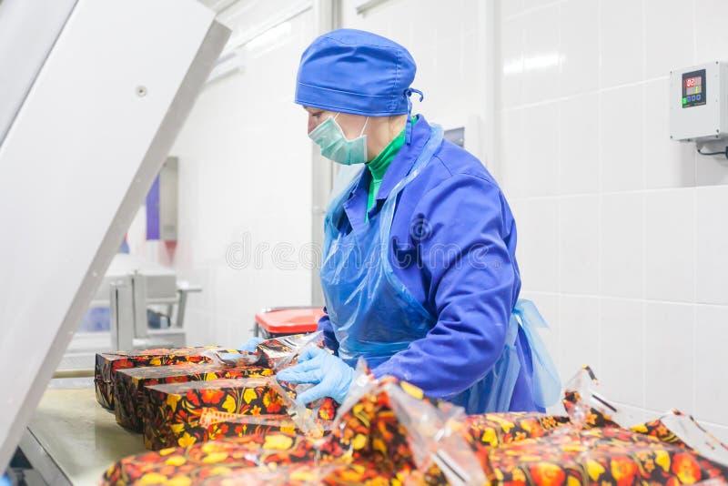 SHUCHIN BIAŁORUŚ, STYCZEŃ, - 26, 2015 Kobieta angażuje w pakować ser na serowej fabryce zdjęcia royalty free