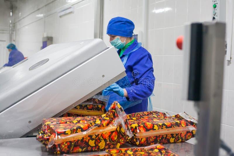 SHUCHIN BIAŁORUŚ, STYCZEŃ, - 26, 2015 Kobieta angażuje w pakować ser na serowej fabryce obraz stock