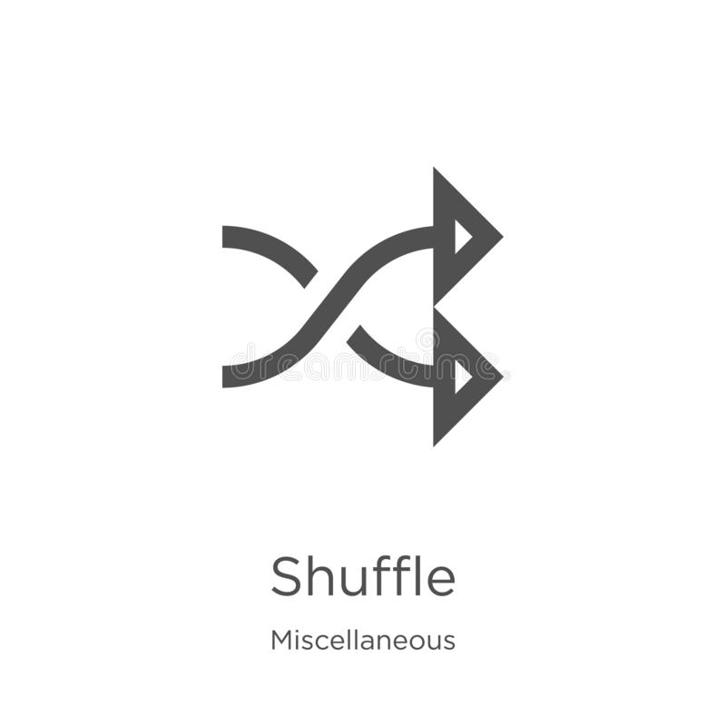 shuffle icon vector from miscellaneous collection. Thin line shuffle outline icon vector illustration. Outline, thin line shuffle royalty free illustration