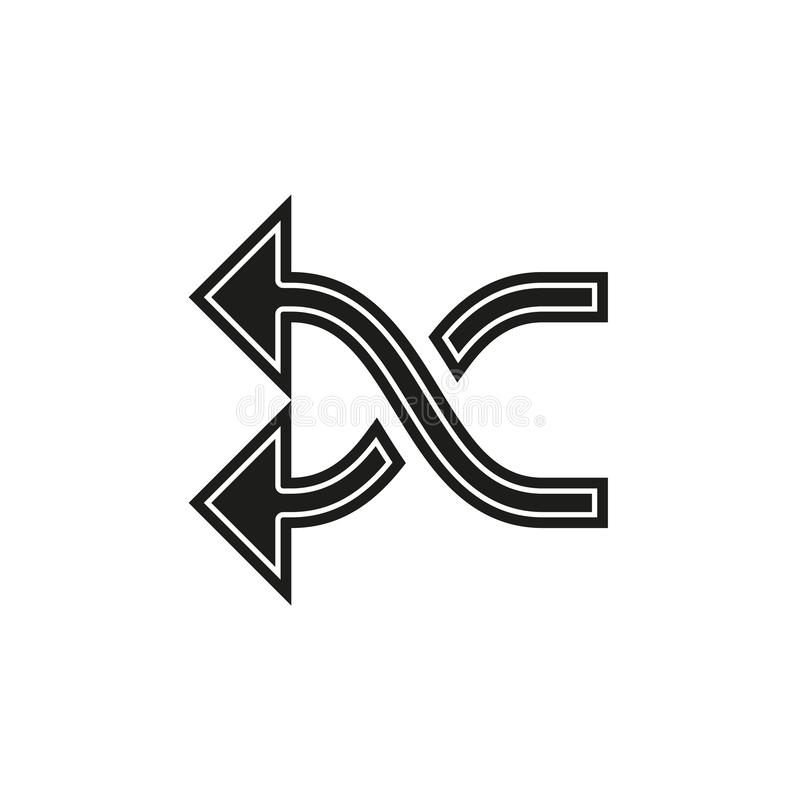 shuffling icon, change order, random sign - vector music symbol vector illustration