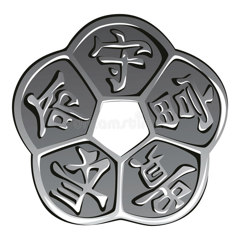 Shui chino antiguo del feng de la moneda del vector stock de ilustración
