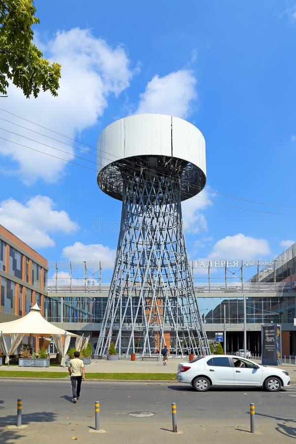 Shukhov tower at the intersection of V. Golovatogo and Rashpilevskaya streets in Krasnodar royalty free stock image