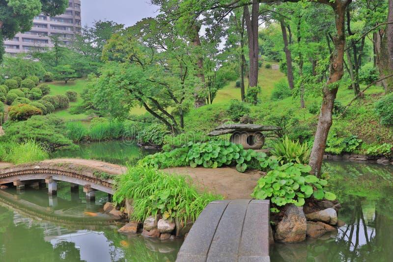 Shukkeien is een prettige Japanse stijltuin royalty-vrije stock foto's