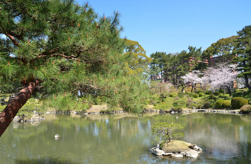 Shukkeien Garden in Central Hiroshima. Pond view of Shukkeien Garden in Central Hiroshima stock images