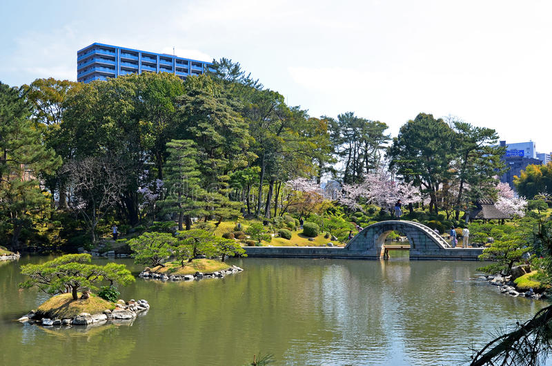 Shukkeien-Garten in zentralem Hiroshima lizenzfreie stockbilder