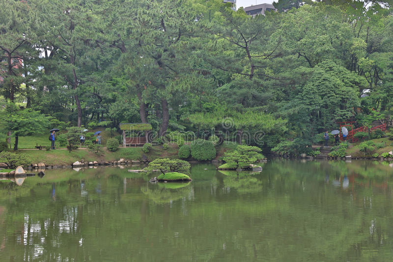 Shukkeien, jardín en Hiroshima, Japón foto de archivo