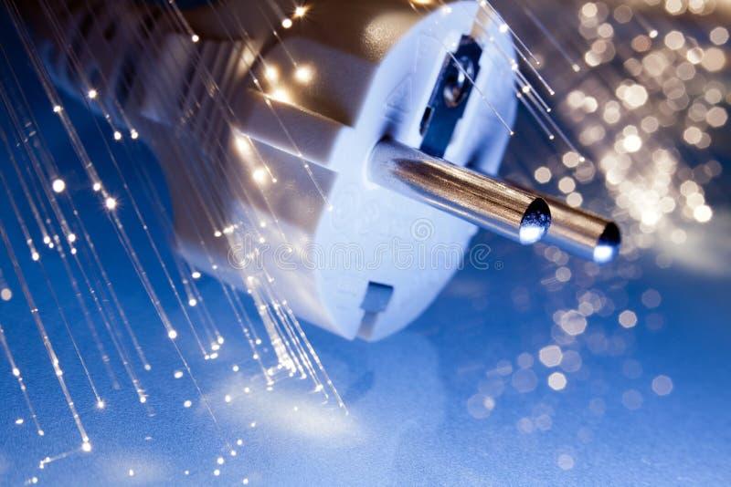 Shuko plug with optical fibers stock photo