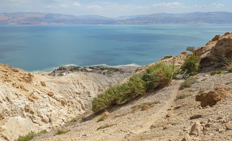 Shulamit Spring Overlooks o Mar Morto em Israel fotos de stock