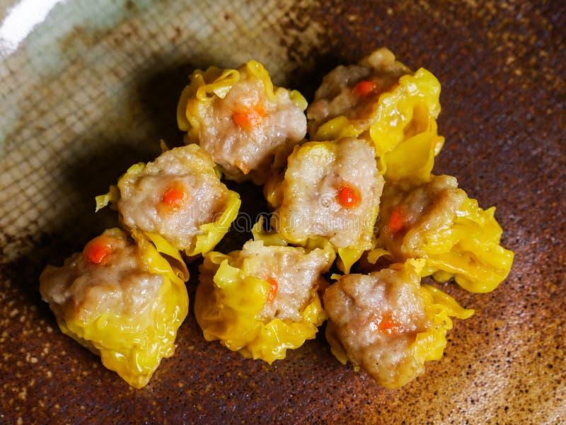 Shumai una comida china de las bolas de masa hervida de Dim Sum imágenes de archivo libres de regalías