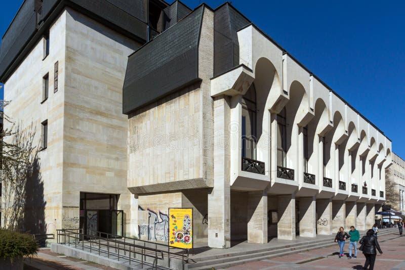 SHUMEN, BULGARIJE - APRIL 10, 2017: Dramatheater Vasil Drumev in stad van Shumen royalty-vrije stock afbeelding