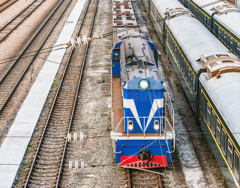 Shunting diesel locomotive on the railway station at day time. Shenzhen. China royalty free stock photos