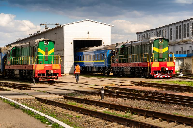 Shunting locomotive with electric transmission stock image