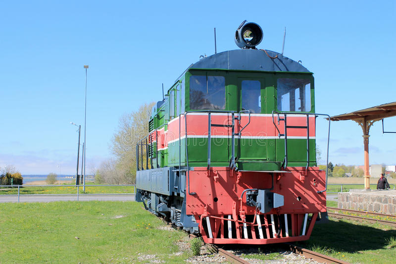 Shunting locomotive. In Haapsalu railway museum stock images