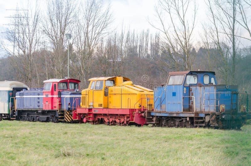 Shunting locomotives. Three different models shunting locomotives stock image