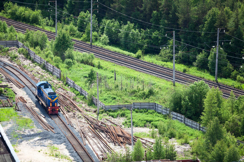 Shunting train on industrial plant. Aerial royalty free stock photo