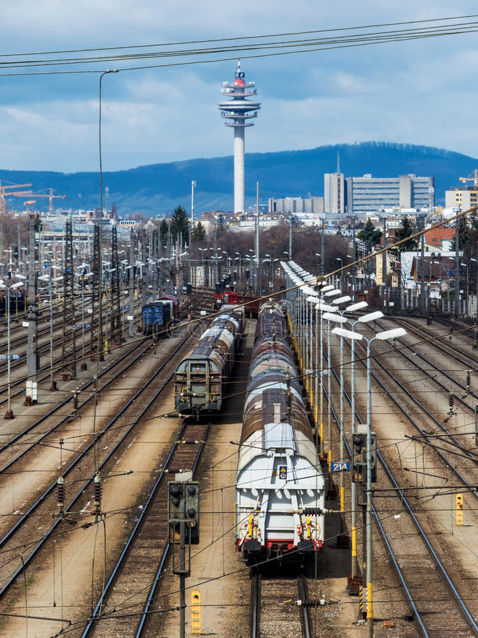 Shunting in vienna. Freight trains on a shunting in vienna. transport of loads on the rail stock images