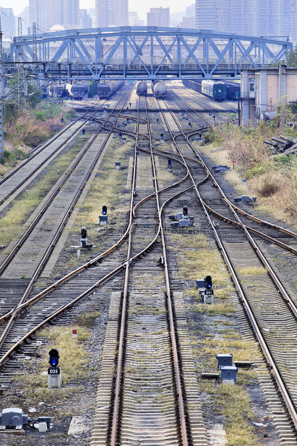 Shunting yard with meandering tracks. With a bridge royalty free stock photography