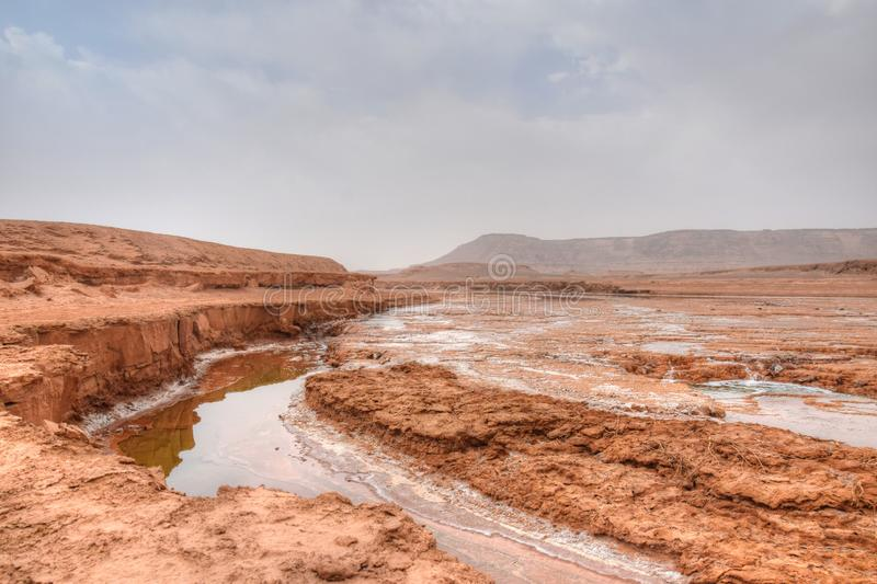 Shur River in Lut desert of Iran. Shur River or literally Salt River is the only permanent river that runs deep in the Iranian desert. The river is constantly royalty free stock photography