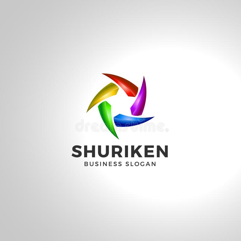 Shuriken - шаблон логотипа лезвия звезды иллюстрация штока