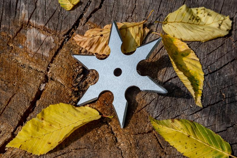 Shuriken throwing star, traditional japanese ninja cold weapon stuck in wooden background stock photos