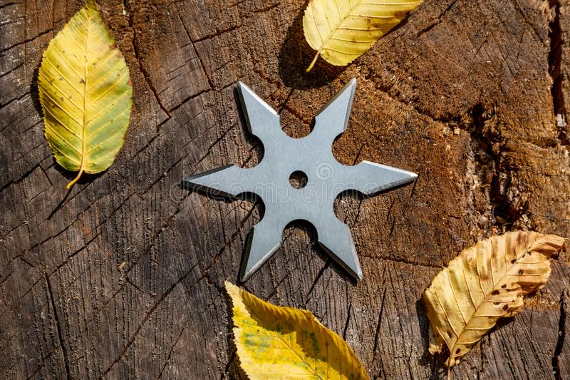 Shuriken throwing star, traditional japanese ninja cold weapon stuck in wooden background stock photography