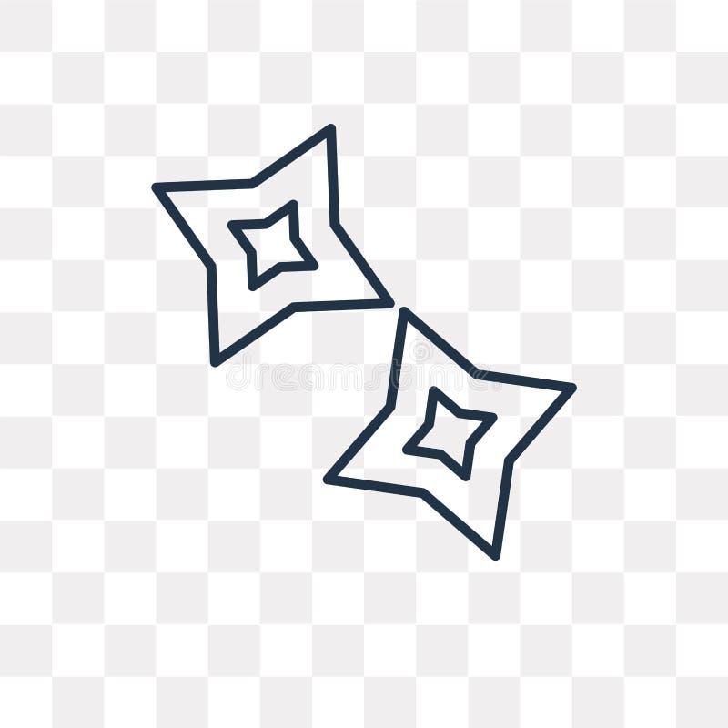 Shuriken wektorowa ikona odizolowywająca na przejrzystym tle, liniowym ilustracja wektor