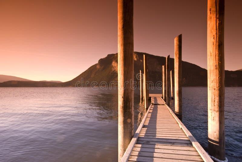 Shuswap Lake, Salmon Arm. Sunset over Shuswap Lake boardwalk, Salmon Arm, British Columbia, Canada stock image