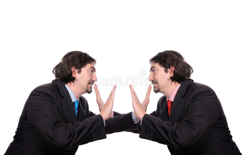 Shut up. Siblings businessmen discussing, isolated on white - Conceptual stock image